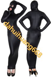 Sexy Black Lycra Spandex Body Bags Suit Costumi Sexy Women Wrap Dress Sexy Sacco a pelo Outfit Costumi Cosplay Con Open Eye Mouth DH117