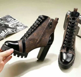 $enCountryForm.capitalKeyWord NZ - Iconic Look ! Branded Women Patent Canvas Star Trail Ankle Boot Designer Lady Black Leather Trim Zipper Rubber Sole Boots
