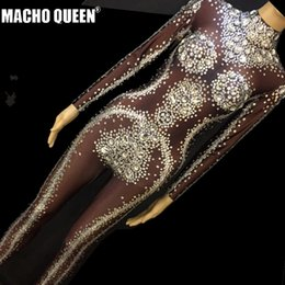 Drag Queen Costumes Sparkly Rhinestone Bodysuit Crystal Jumpsuit Carnival  Cotumes Runway Performance Party Celebrity Clothing 1f532f19549d