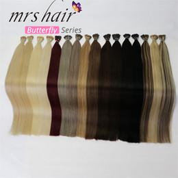 "Pre Bond Human Hair Extensions Australia - MRSHAIR 1g pc 16"" 20"" 24"" Pre Bonded Hair Extensions I Tip Machine Made Remy Straight Human Hair On Capsule Real Hair 50pcs"