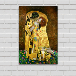 kissing cartoon Australia - Canvas Art Wall Pictures For Living Room Gustav Klimt Sytle The Kiss Photo Oil Painting Home Decor Printed No Framed