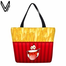 $enCountryForm.capitalKeyWord UK - VEEVANV High Quality Designed Smiling Face Shopping Bags Hamburger Canvas Emoji Cartoon Handbags Chips Food Printing Tote Bags