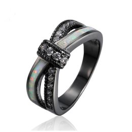 $enCountryForm.capitalKeyWord NZ - Sue Phil Vintage Party Women Ring opal CZ Fashion Black Gold Color Wedding Engagement Rings for Women Men bow-tie Jewelry