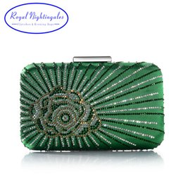 Hot New Dark Green Purple Large Crystal Satin Silk Box Clutch and Evening  Bags with Flowers for Womens Party Wedding Prom Dress Y18102504 7505cde600da
