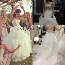 Sexy Sparkle princeSS wedding dreSS online shopping - Layered Organza See Through Ruffled Bridal Gown Sparkling Beaded Lace Bodice Spaghetti Straps garden church Wedding Dress
