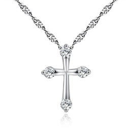 snake chain silver pendant UK - Europe Silver Plated Necklace Jewelry Women Fashion Cross CZ Crystal Zircon Rhinestone Pendant Necklaces Christmas Gift