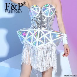 Discount celebrities jumpsuits rompers - Holographic Fringe Bodysuit Drag Queen Costumes Jumpsuit Women Outfit Party Costumes Stage Celebrity Rompers Jumpsuit