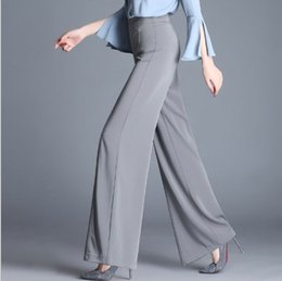 Wide Leg Work Pants Canada - Plus Size 5XL 6XL OL Work Pants Women Loose Wide Leg Pants Womens Sheer Suit Pants Trousers Fashion High Waist Culottes Black Gray Red Green