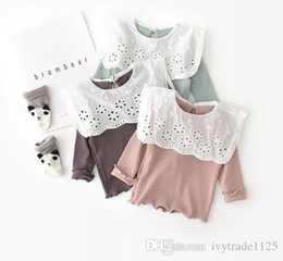 Tops Girl Shirt Design Australia - girl kids clothing shirt 100% cotton lace hollow out turn down collar long sleeve design girl t shirt spring fall solid color top t shirt