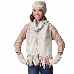 $enCountryForm.capitalKeyWord NZ - Womens pink Knitted Ski Beanie Cap Warm Hats Scarf and Gloves Winter Set Drop Ship