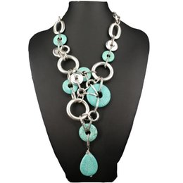Artificial Chains Wholesalers Australia - Bohemian style multi-vintage silver circle Necklace Artificial stone Imitationturquoise necklace female Turkish style jewelry