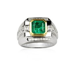 $enCountryForm.capitalKeyWord UK - Derongems_Elegant Square Emerald Gemstones Rounded Diamonds Man Rings_S925 Sterling Silver Green Stones Man Rings_Facotry Directly Sales