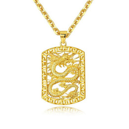 Chinese  Fly Dragon Pattern Pendant Necklace Chain 18k Yellow Gold Filled Solid Handsome Mens Gift Statement Jewelry manufacturers