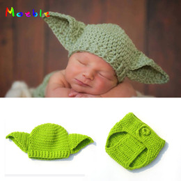 Wholesale Moeble Infant Boy Knitted Yoda Outfits Photography Props Crochet Baby Hat shorts Set Newborn Baby Christmas Gift