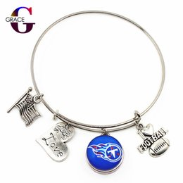 football christmas gifts 2019 - 10pcs Heart Love Charms With Football Sports Ginger Glass Snap Buttons Adjustable Expandable Bangle Bracelet For Women c