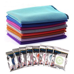 Cooling Summer Towels NZ - Double Layer Ice Cooling Towel Summer Sports Exercise Cold Towels 90*30cm Quick Dry Ice Cold Washcloth Hypothermia Cool Towel with Box Hot