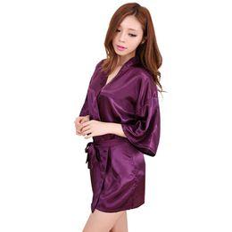 Wholesale- Purple 2016 Short Style Women s Silk satin Robe Gown Kimono Gown  Wedding Party Bridesmaid Robe size S M L XL XXL XXXL 0fdd7c6ef