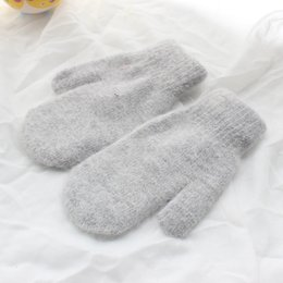 Knitted double gloves online shopping - Wool Yarn Knitting Glove Fashion Warm Thickening Double Deck Winter Plush Solid Color Soft Mittens Lovely Lady Fashion Gloves ps hh