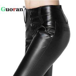 ecd2ad6552d  Guoran  High Waist Stretch Women s PU Leather Pencil Pant Plus Size 4XL  Black Female Faux Leather Leggings Female Slim Trousers