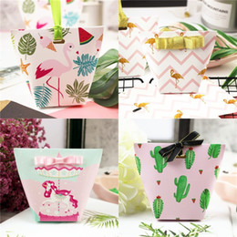 sugar paper 2019 - Creative Paper Candy Box Unicorn Watermelon Cactus Flamingo Multiple Options Sugar Holder Bags Wedding Party Gift Boxes