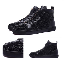 Mens Spiked High Top Sneakers NZ - mens womens black matter leather with black spikes high top sneakers,designer men causal sports shoes Drop shipping qj1392151