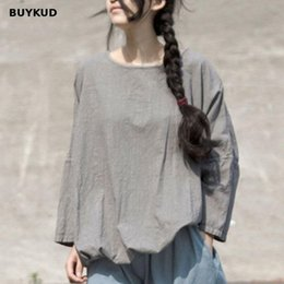 BUYKUD Cotton Linen Distressed Women s T-shirt 2018 Spring Summer Casual  Long Sleeve Loose Top Solid Plus Size Tee 0c7494cefa23