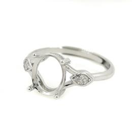 $enCountryForm.capitalKeyWord NZ - 20pcs lot 925 Sterling Silver Engagement Wedding Ring for Women 8x10mm Oval Cabochon Semi Mount Ring Setting DIY Stone