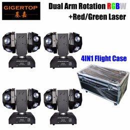 Laser Lights designs online shopping - Stackable IN1 Case Design Mini Double Balls Led Moving Head Laser Light RGBW Color Super Beam Red Green Laser Star Shinning