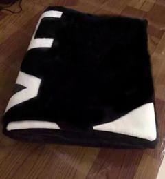 Bag Brand logos online shopping - HOT Brand black throw flannel fleece blanket size x150cm x200cm with dust bag C style logo for Travel home office nap blanket