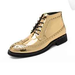 leather work oxfords for men 2019 - men high top patent leather boots italian formal dress shoes gold winter footwear silver brogue oxford shoes for men che