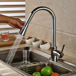 Kitchen Pull Handles NZ - Hot&Cold Water Chrome Finish Pull Out Out Sprayer Head Kitchen Sink Faucet Single Handle