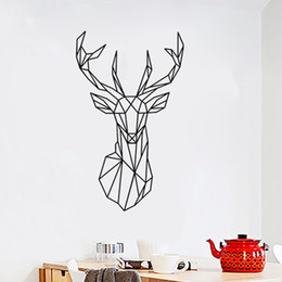 $enCountryForm.capitalKeyWord Australia - New Qualified Wall Stickers 1pcs Decal Wall Stickers Home Decorations 3D Geometric Deer Pattern PVC Wallpaper For Living Room