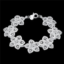 Wholesale Beast gift! Plant flower 925 silver bracelet JSPB317 ; New arrival girl women sterling silver plated Chain link bracelets