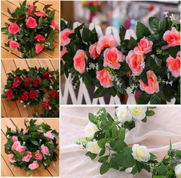 garland flowers fake Canada - 2Pcs Set-10Heads Pink Rose Garland Artificial Vines Decoration Silk Flowers Wedding Decor DIY Home Fake Foliage Ivy Leaf