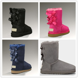 Plush charms online shopping - 2017 new Australian snow boots thick leather bow in the tube snow boots cotton shoes