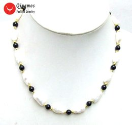 "natural black pearls Canada - wholesale Natural White Pearl Necklace for Women with 5*12mm Baroque Pearl 6mm Black Agates 17"" Chokers Necklace Jewelry Colar 613"