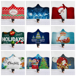 Discount snowman towel - Christmas Baby Blankets Ins Hooded Winter Fleece Cloak Snowman Elk 3D Print Blanket Santa Soft Casual Poncho Oversized S