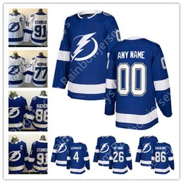 New Brand Custom Tampa Bay Lightning Hockey Jerseys Any Name Number 91  Steven Stamkos 24 Ryan Callahan  86 Kucherov  77 Hedman Blue White 9bdb2397f