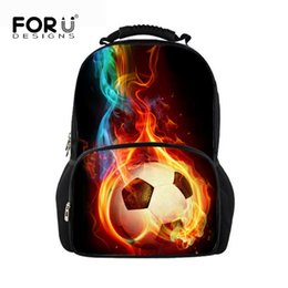 large feet 2018 - FORUDESIGNS Foot Ball Fire Printing School Bags For Boys Orthopedic Backpack Protect Large Capacity University Student S