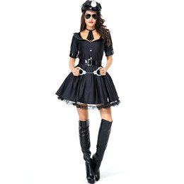 Discount police woman costume shorts - Halloween Policewoman Cosplay Costume Sexy Adult Female Officer Cop Uniform Black Pleated Dress Women Party Club Police