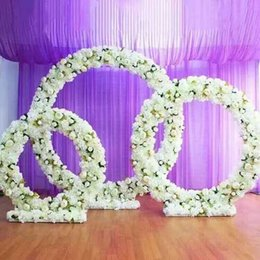 Wedding led floor light online shopping - Customized new round iron arch wedding props road lead stage background decor iron arch stand frame with silk artificial flowers
