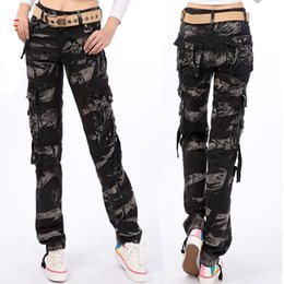 Woman Military Pants Canada - 2018 Fashion Spring Women Cargo Pants Black Camouflage Casual Outdoor Military Pants Multi Pockets Straight Street Dance Trousers