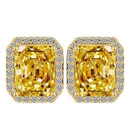 $enCountryForm.capitalKeyWord UK - Big Square yellow Crystal Stud Earrings for Women Korean Fashion Jewelry Gold CZ Earings wedding favors and gifts