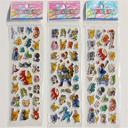 diary stickers labels 2019 - New Arrival 3 Sheets set GO Stickers for Kids Rooms Home Decor Diary Notebook Label Decoration Toy Pikachu 3D sticker di