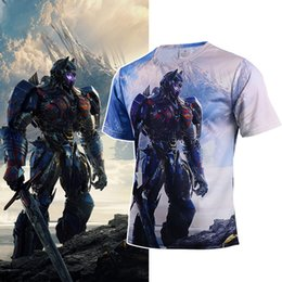 Movie Tees Canada - Movie Transformers The Last Knight T Shirts Cosplay Costume Adult Men Short Tee Transformers Costume Halloween Party