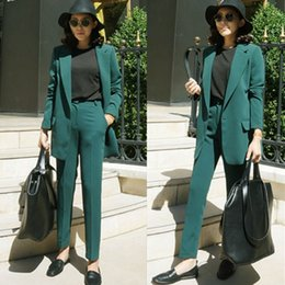 $enCountryForm.capitalKeyWord Australia - Customized new hot women's women's loose solid color suit two-piece (jacket + pants) women's business formal suit