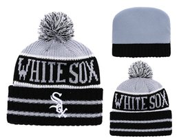 Woman Fans Australia - 2018 New Sport white sox Baseball Skullies Hat Pom Cuffed Knitted Hats With Embroidered Team Logo Fans Fashion Winter Warm Women Beanies