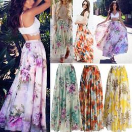 Women S Beach Clothes NZ - New 2018 summer skirt Pleated Skirt Blossoming Floral Chiffon Floral Print Plus Size Women clothes Elastic Waist Beach Wear 4 Styles S-XL