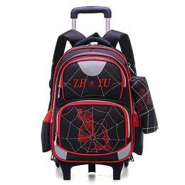 Children sChool trolley bags online shopping - High Quality wheel School Bag Detachable Backpack Fashion Trolley Kids Backpacks Children Cartoon Schoolbag Luggage Book Bags