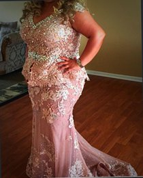 Gold Lace Peplum Dress Australia - 2018 Plus Size Pink Mermaid Prom Dresses V Neck Cap Sleeves Peplum Sash Crystal Beaded Lace Appliques Long Arabic Party Formal Evening Gowns